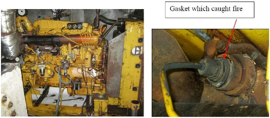 PCP crane engine room, engine A to the left, and close-up of diesel injector for cylinder 6.