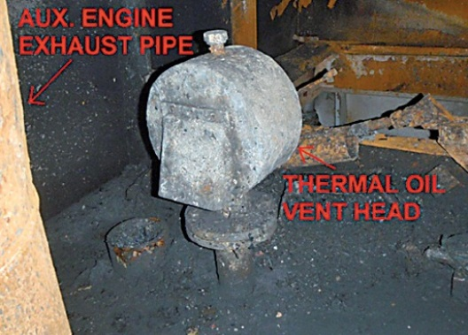 Thermal oil air vent head after the fire