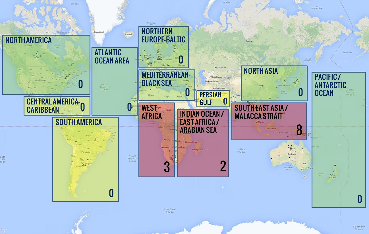 an overview of the piracy worldwide Overview there are high levels of piracy in in both coastal and international waters, particularly near somalia and yemen in the horn of africa, the gulf of guinea.