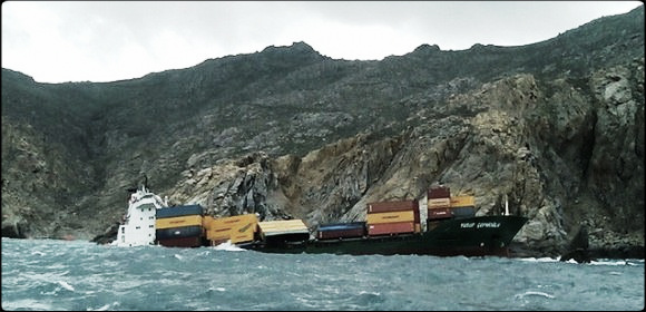 2014.03.08 - Grounding of Container Ship Near Mykonos, Greece